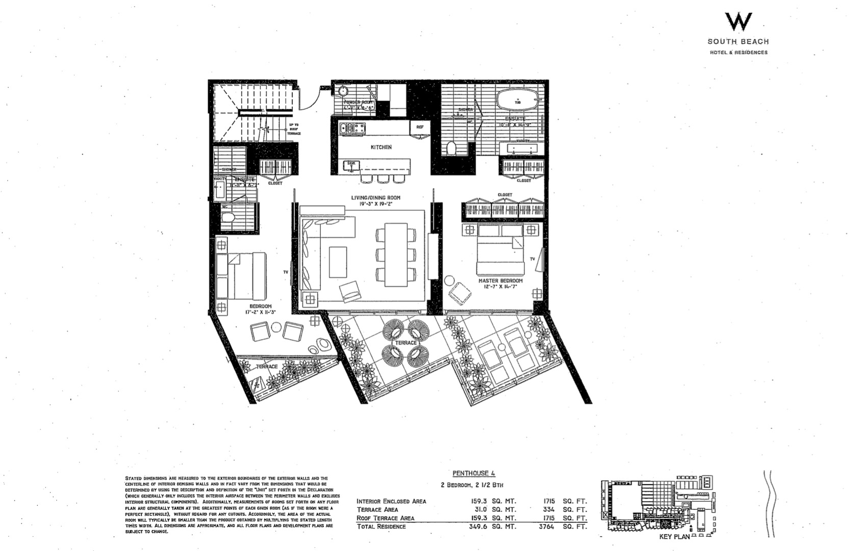 Floor plan image W South Beach Penthouse 4 - 2/2/1  - 3764 sqft image