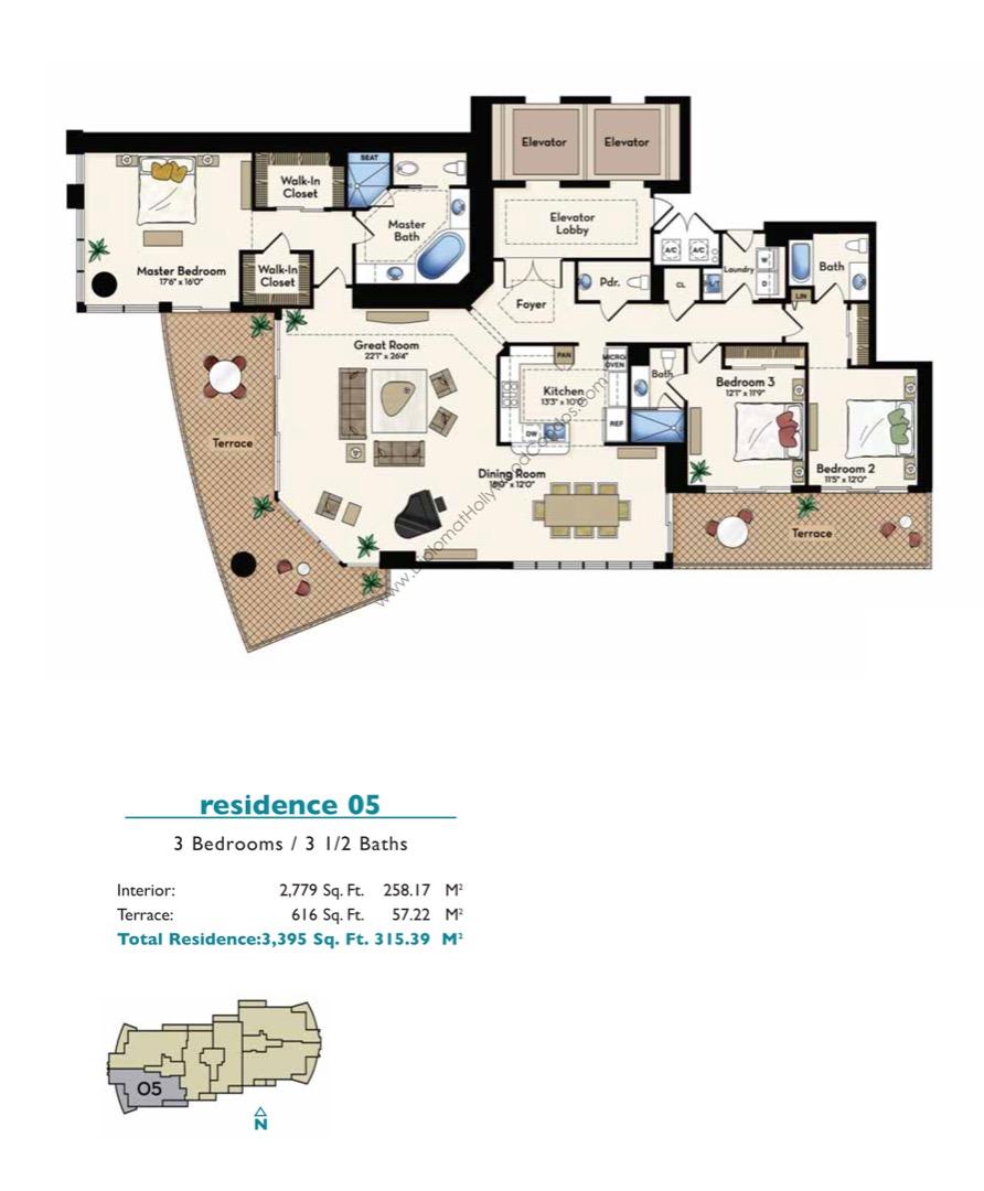 Floor plan image Residence 05 - 3/3/1  - 2779 sqft image