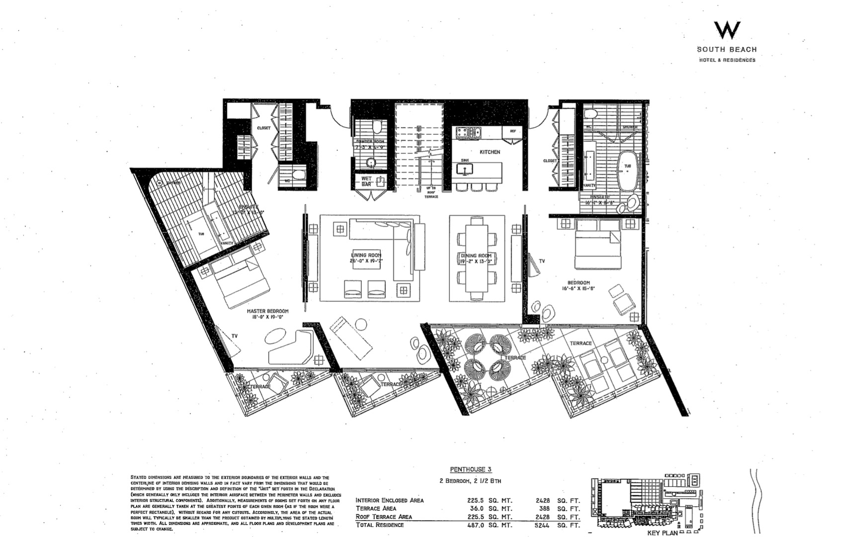 Floor plan image W South Beach Penthouse 3 - 2/2/1  - 5244 sqft image