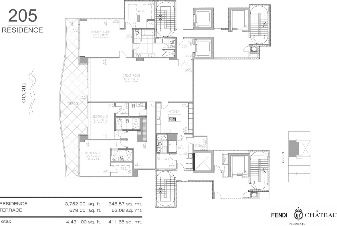 Floor plan image 205 - 4/4.5  - 4431 sqft image