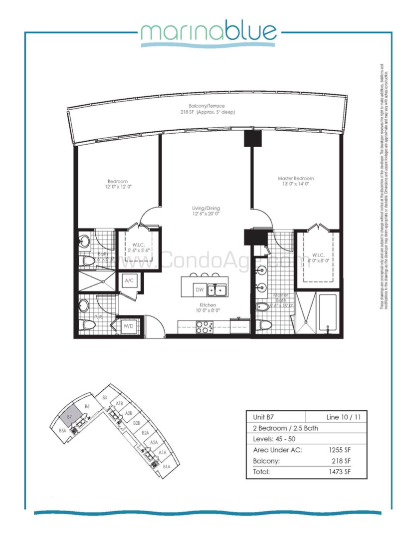 Floor plan image B7 - 2/2/1  - 1255 sqft image
