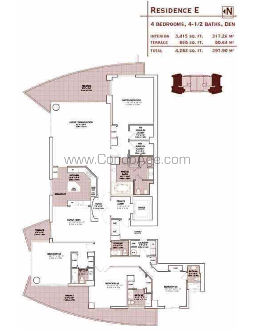 Floor plan image E - 4+Den/4/1  - 3415 sqft image
