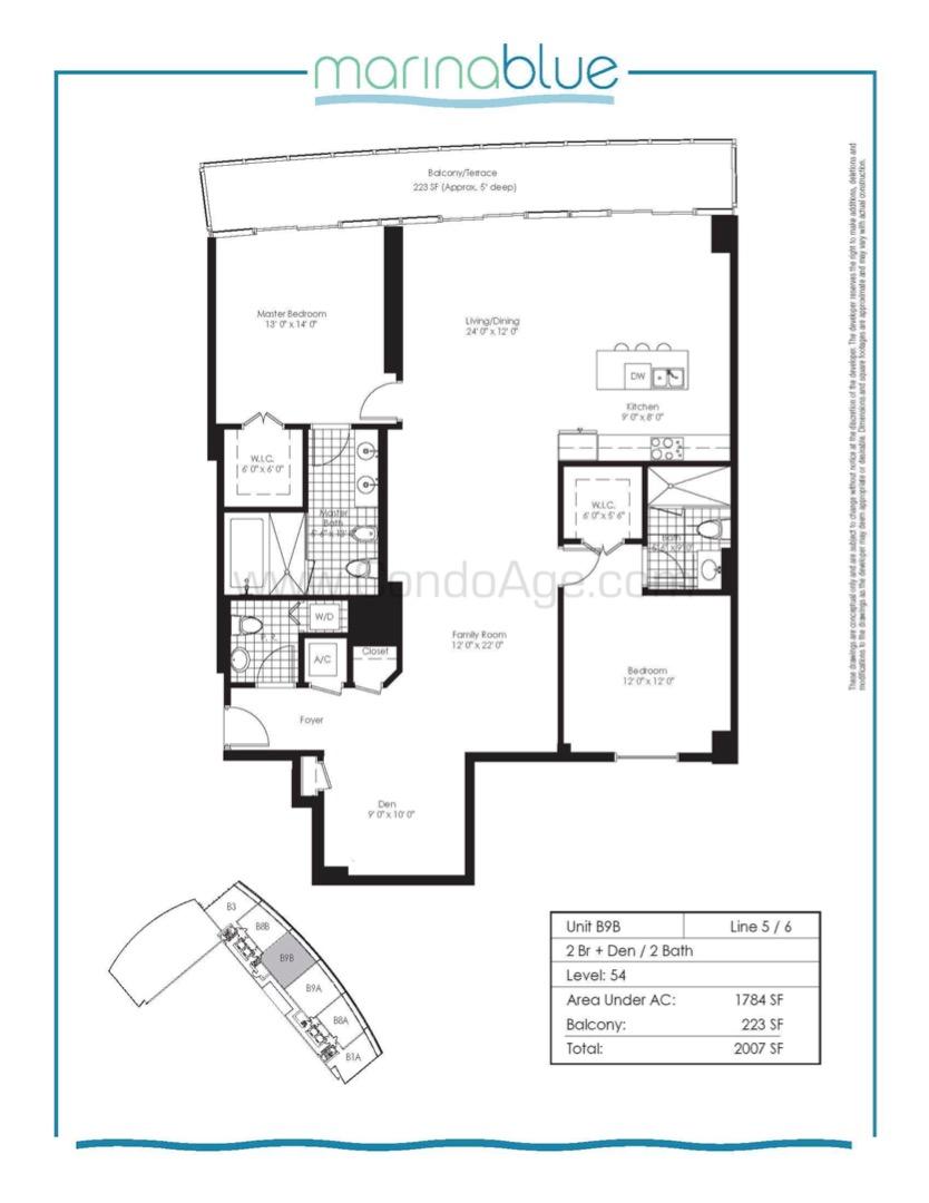 Floor plan image B9B - 2/Den/2  - 1784 sqft image