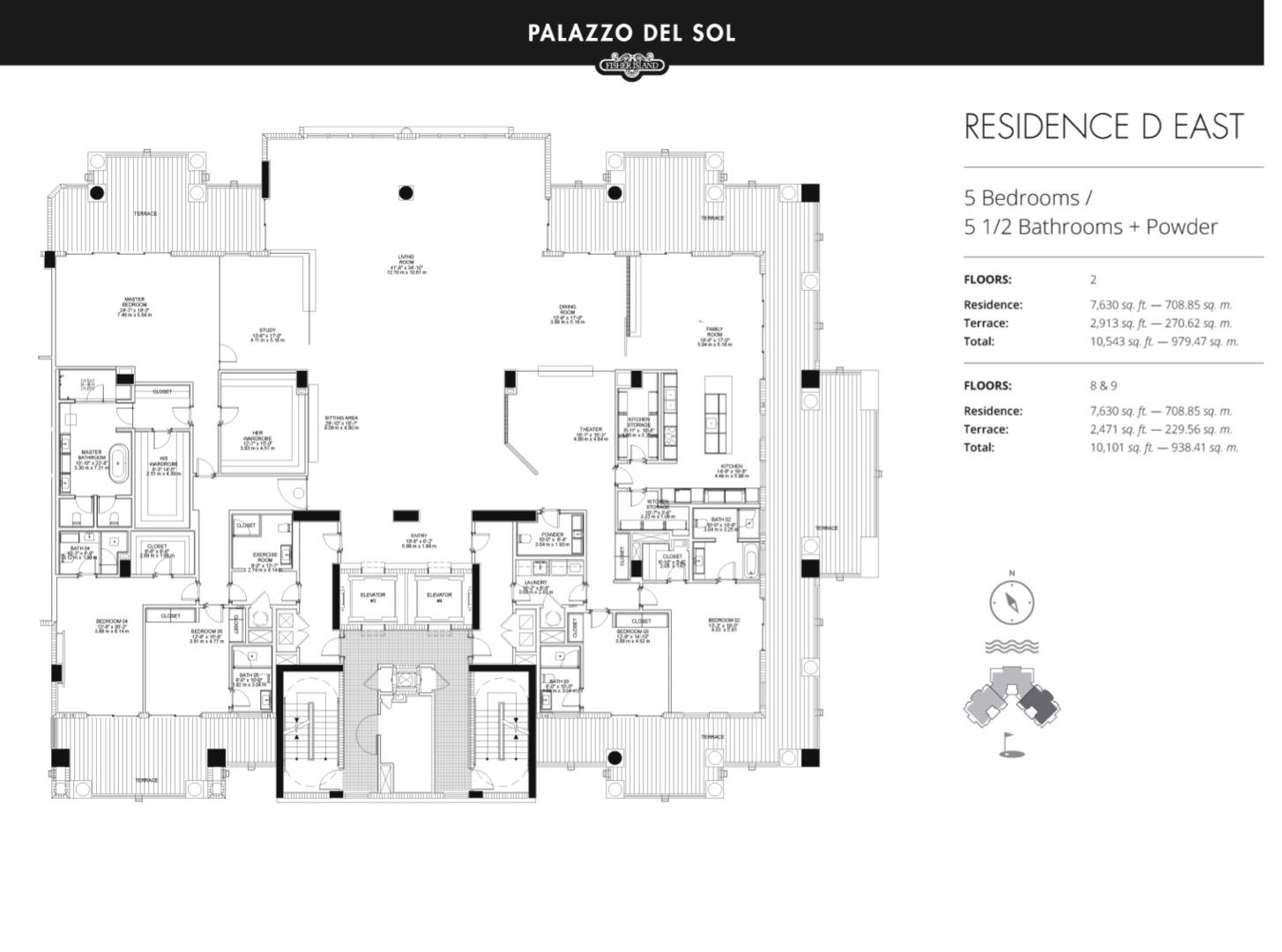 Floor plan image D East 9 - 5/5.5  - 7630 sqft image