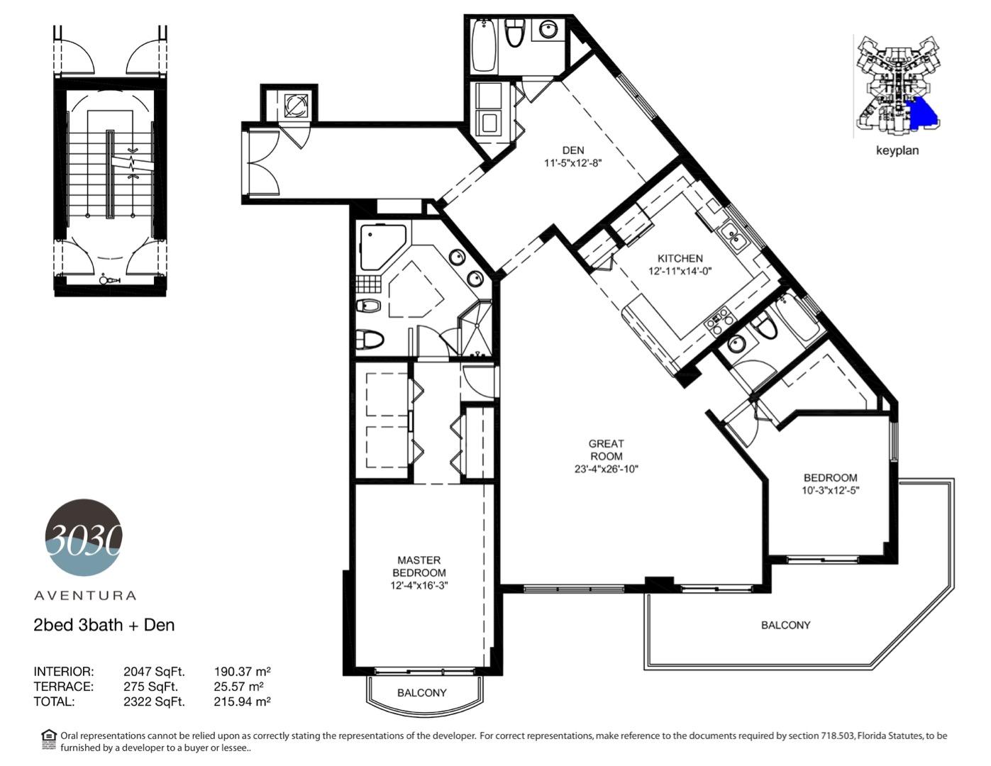 Floor plan image 05 - 2 + Den / 3  - 2322 sqft image