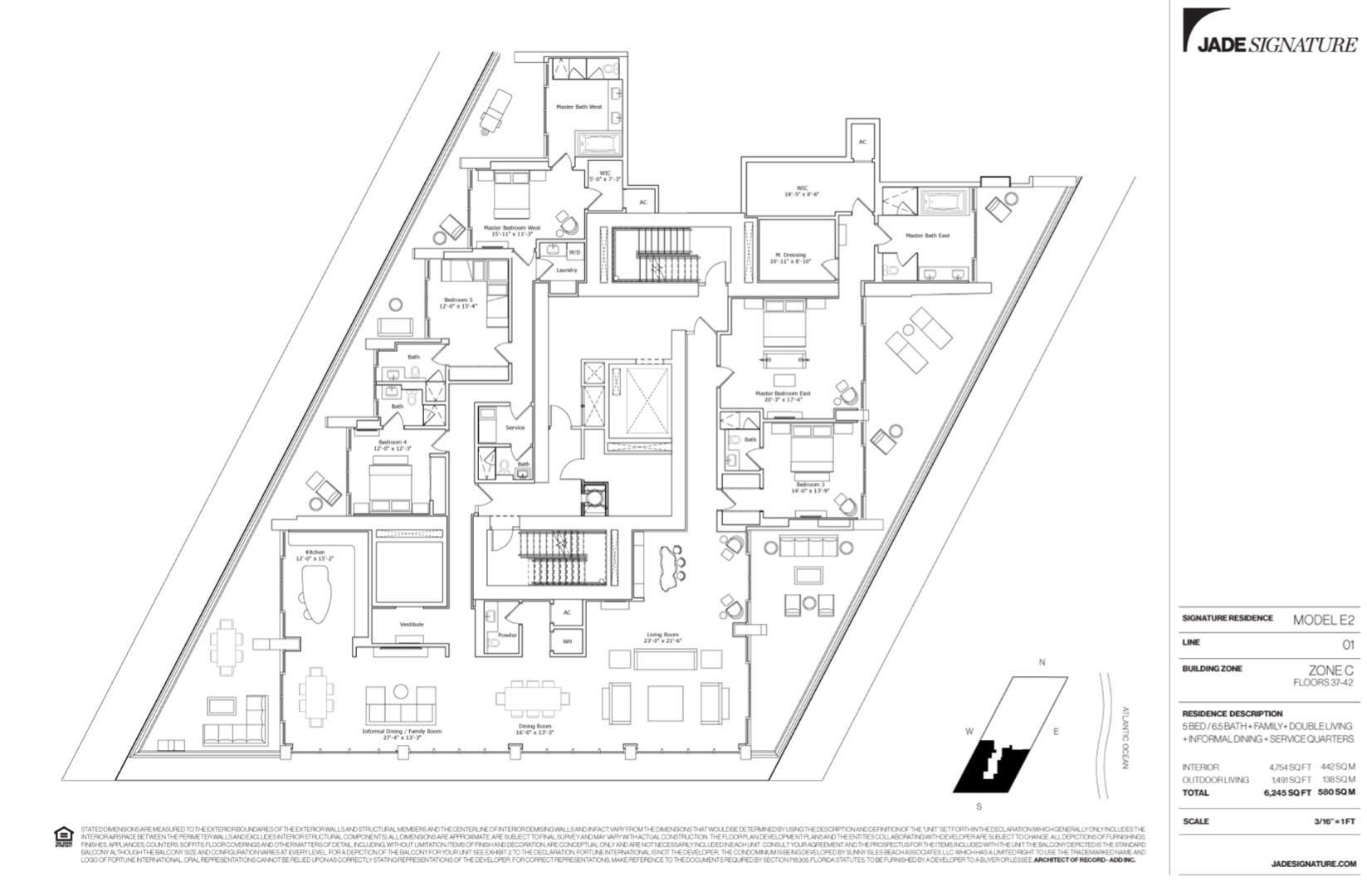 Floor plan image E2 - 5/6.5/Family/DoubleLiving/InformalDining/Service  - 4754 sqft image