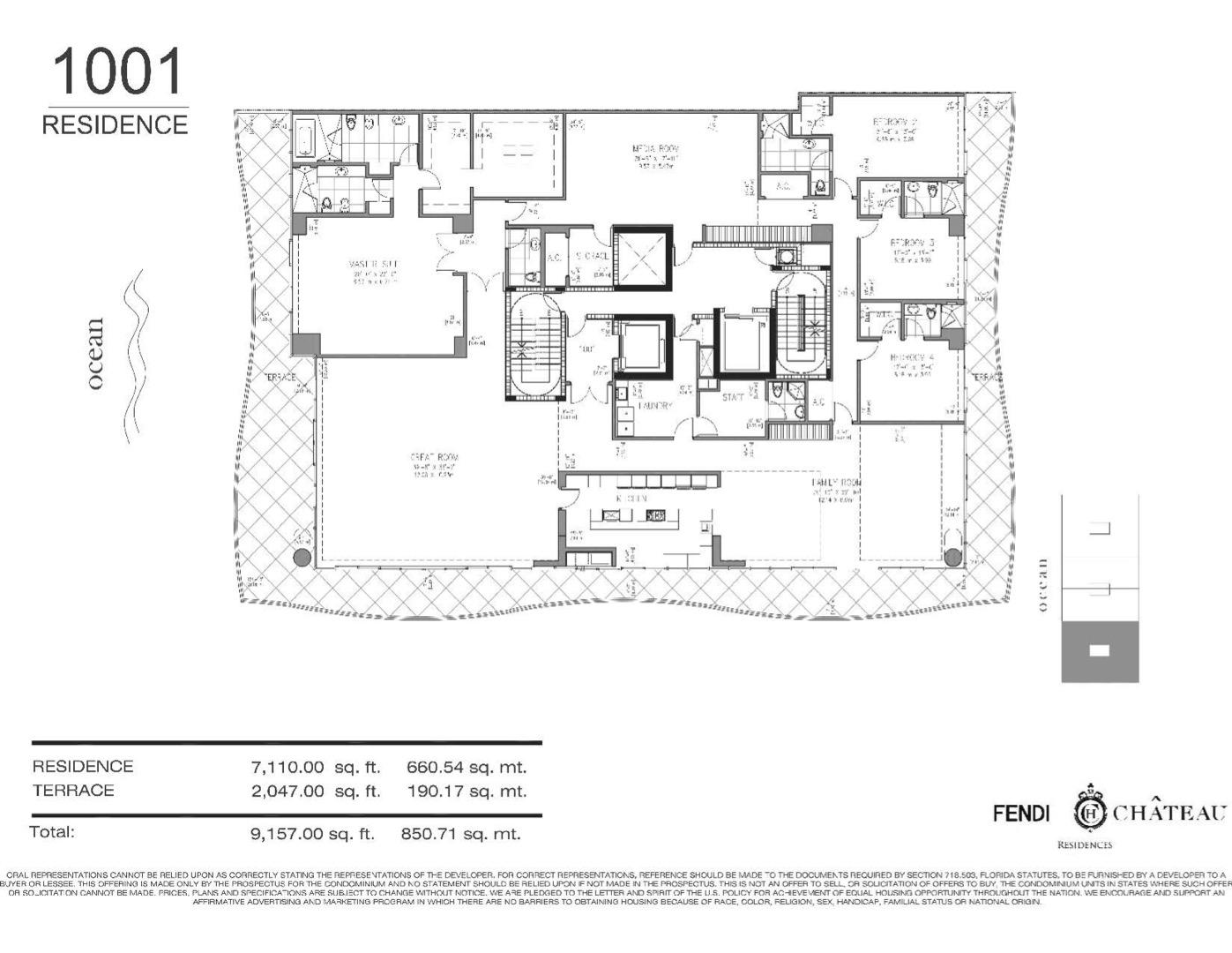 Floor plan image 1001 - 4//4.5/MEDIA ROOM  - 9157 sqft image