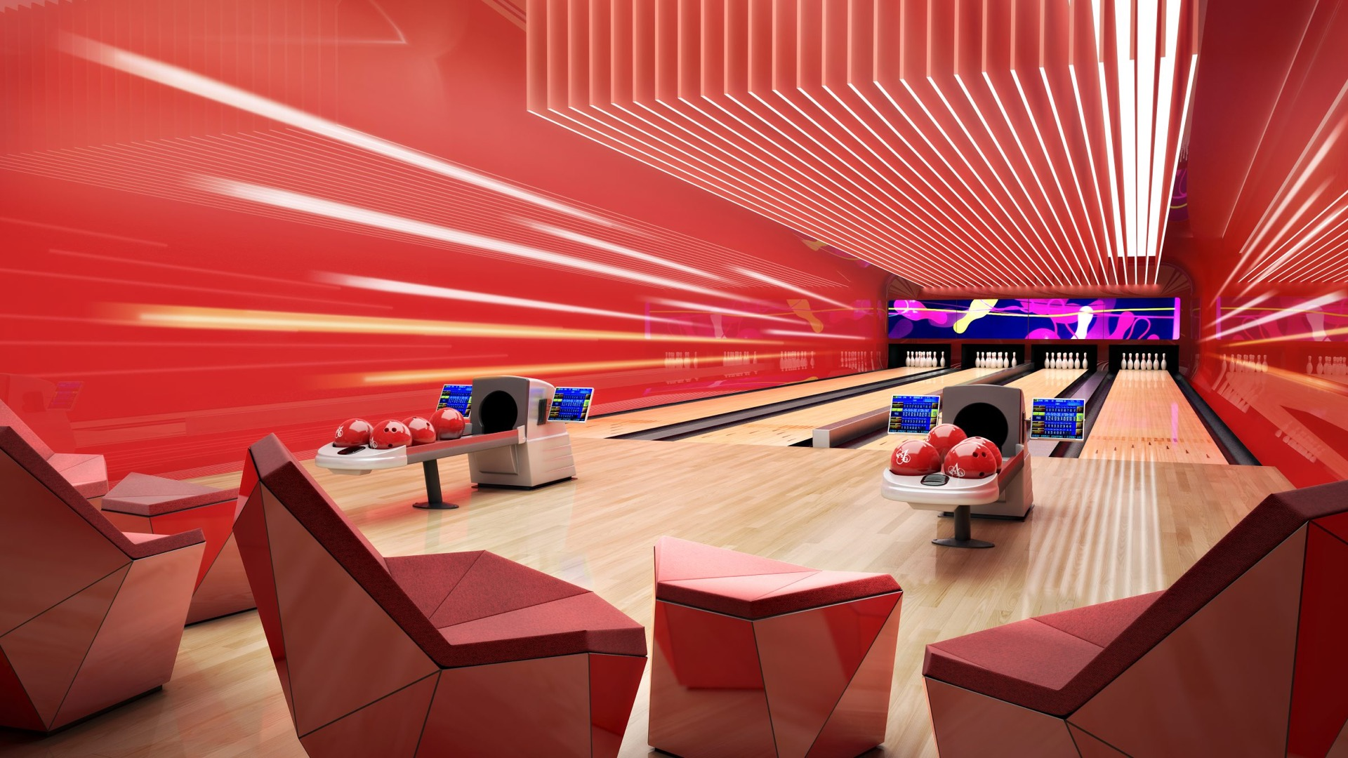 Bowling alley with 4 lanes image
