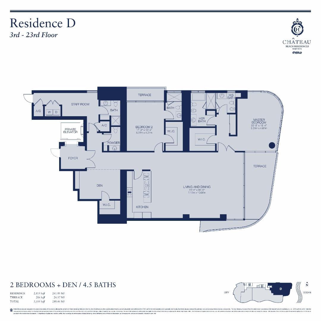 Floor plan image 01-D   2301 - 2/4.5 + Den  - 2703 sqft image