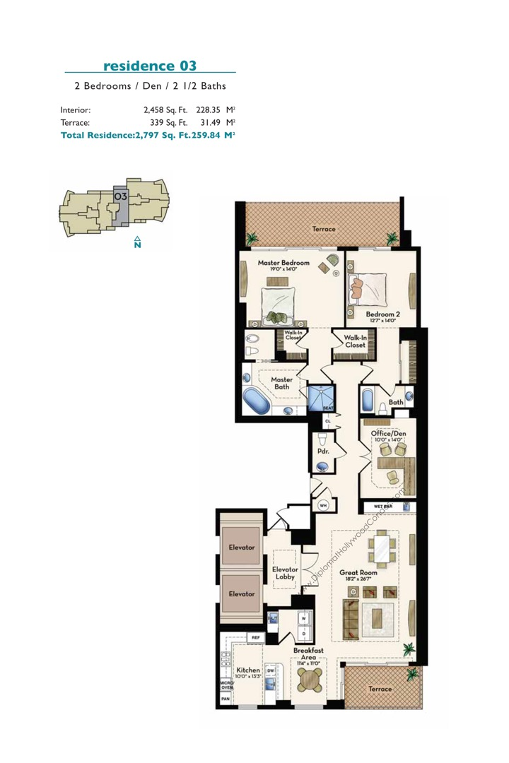 Floor plan image Residence 03 - 2/2/1+Den  - 2458 sqft image
