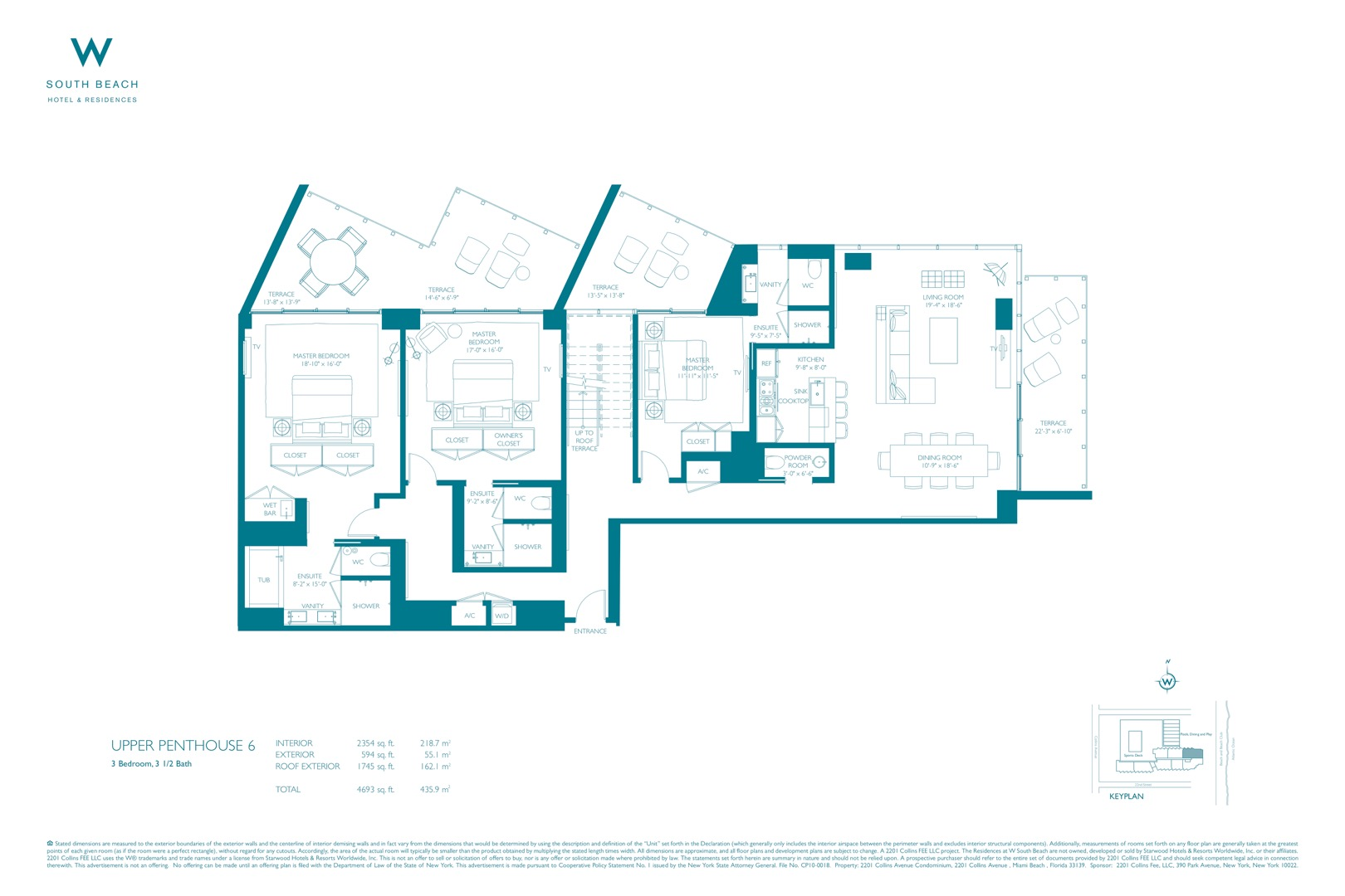 Floor plan image W South Beach Penthouse 6 - 3/3/1  - 5367 sqft image