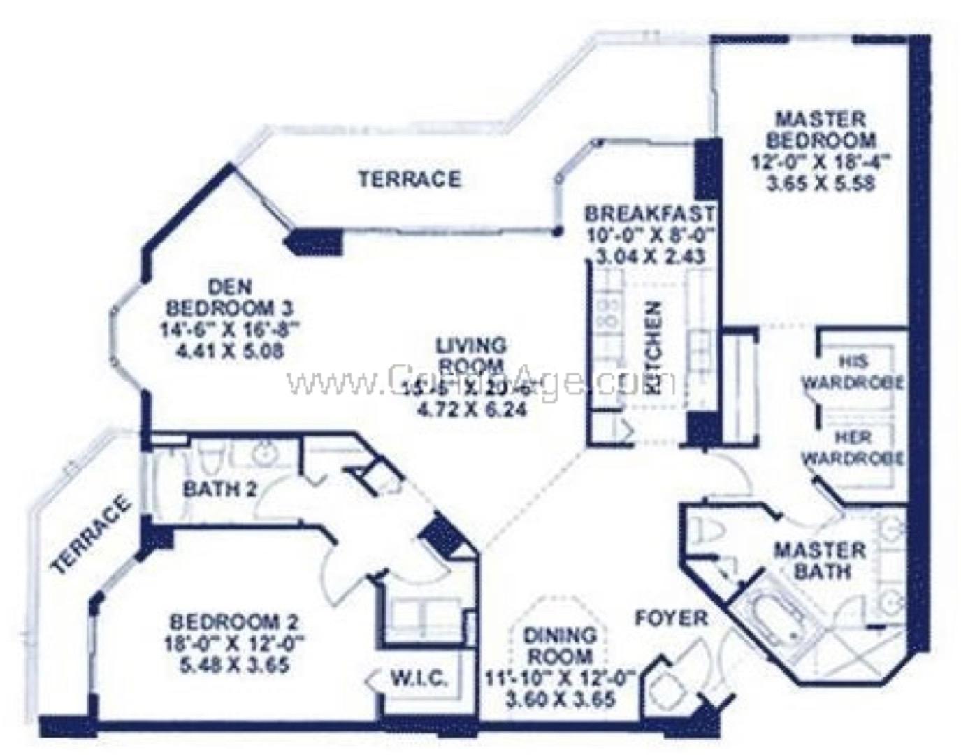 Floor plan image BR - 2/2/Den  - 1865 sqft image