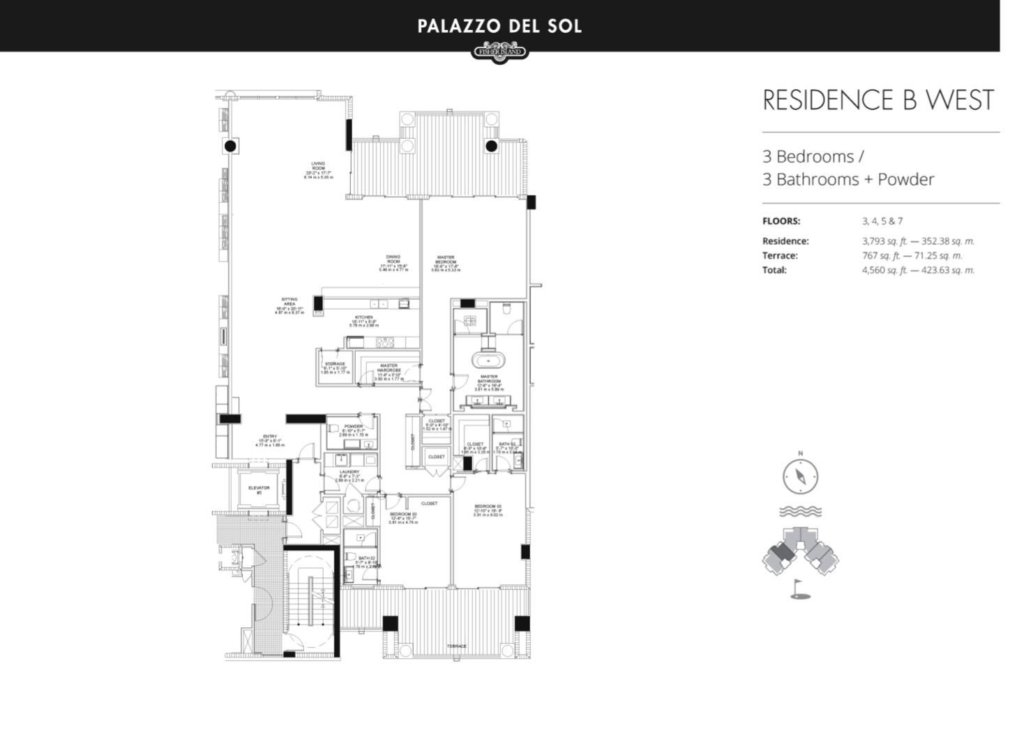 Floor plan image B West 3-7 - 3/3  - 3793 sqft image