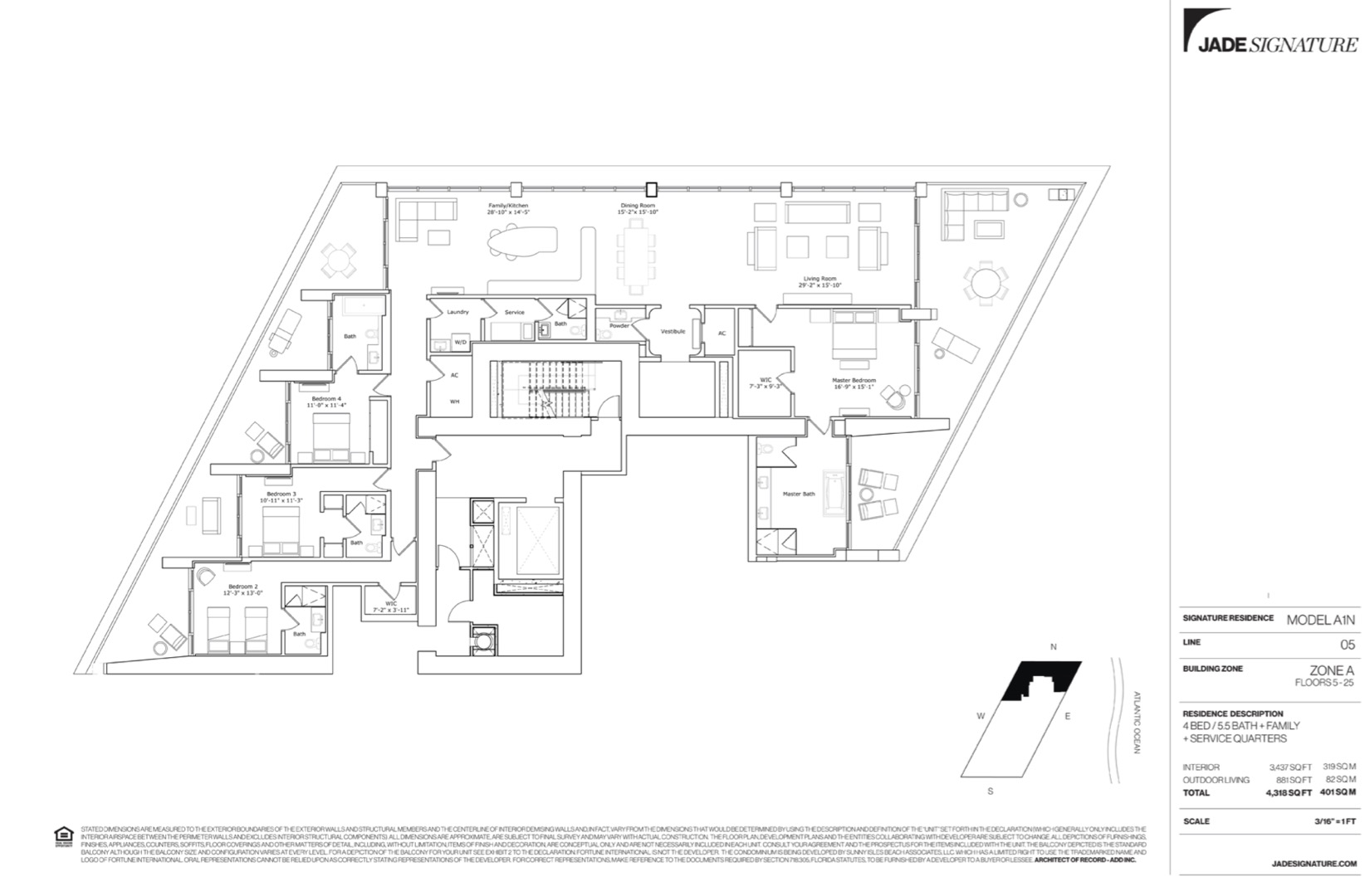Floor plan image A1N - 4/5.5/Family Room/ServiceQuarters  - 3437 sqft image