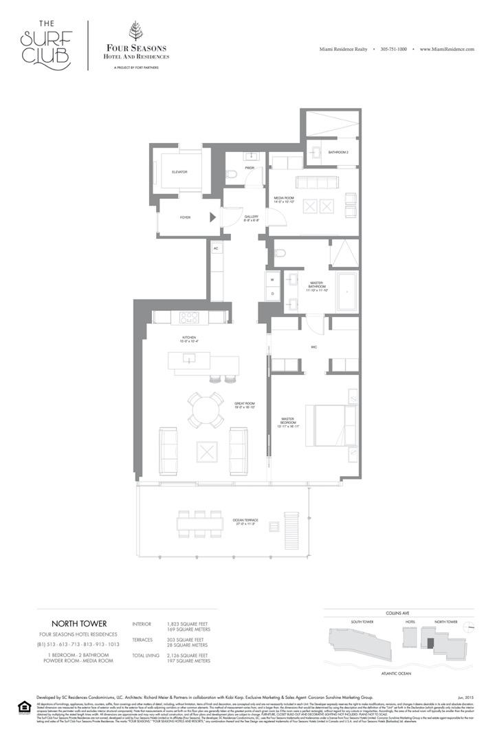 Floor plan image B1 - 1/2/POWDER ROOM/MEDIA ROOM  - 2126 sqft image
